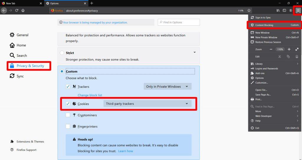 Paramètres de sécurité Firefox personnalisés