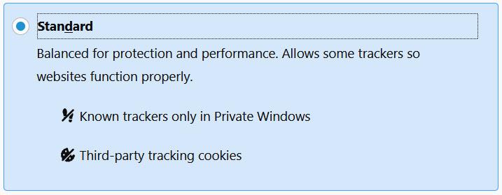 Paramètres de sécurité standard de Firefox