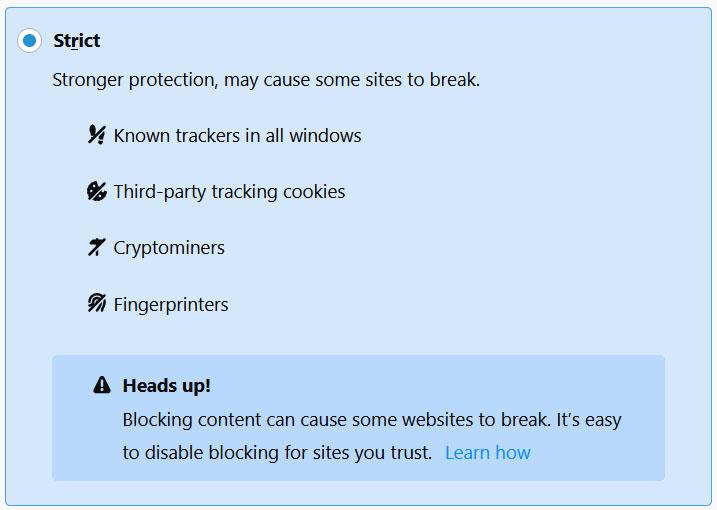 Paramètres de sécurité stricts de Firefox
