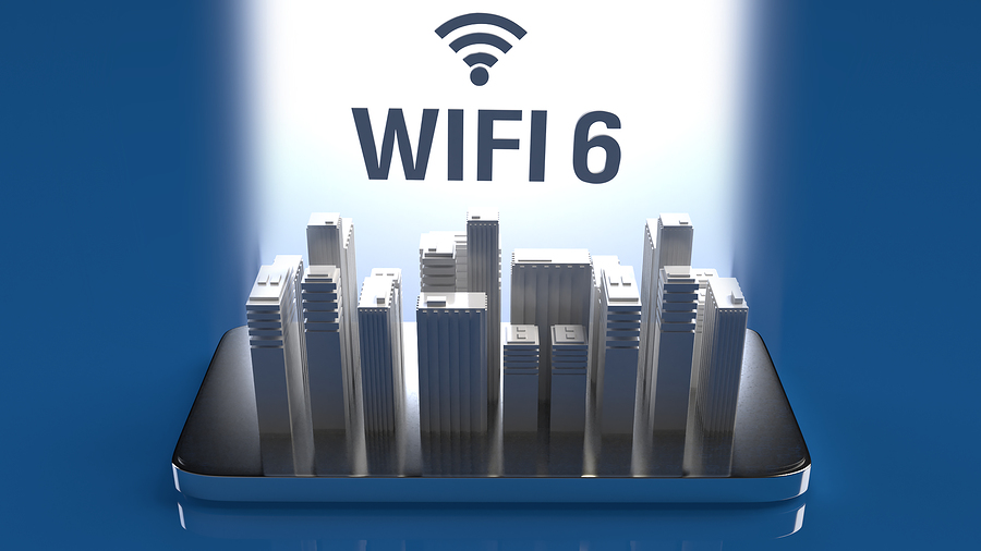 3D Rendering Building On Mobile Phone For Wifi 6 Concept.