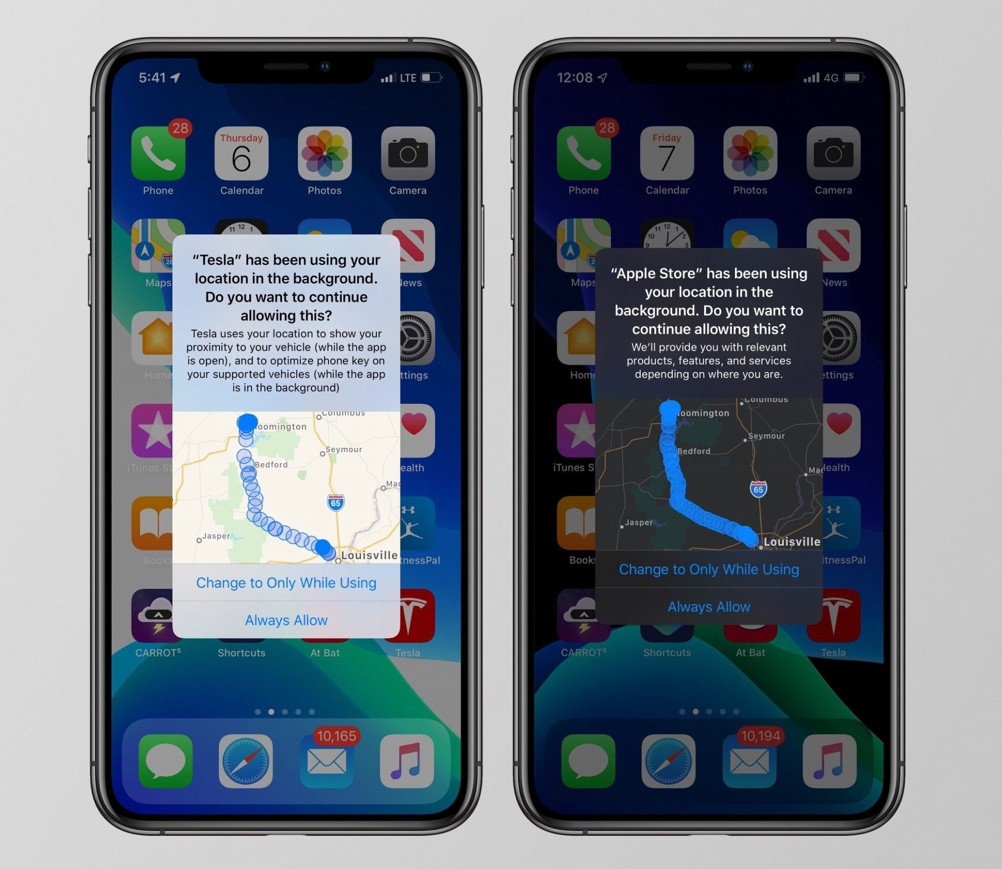emplacements ios-13
