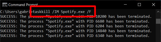 命令提示符命令taskkill spotify