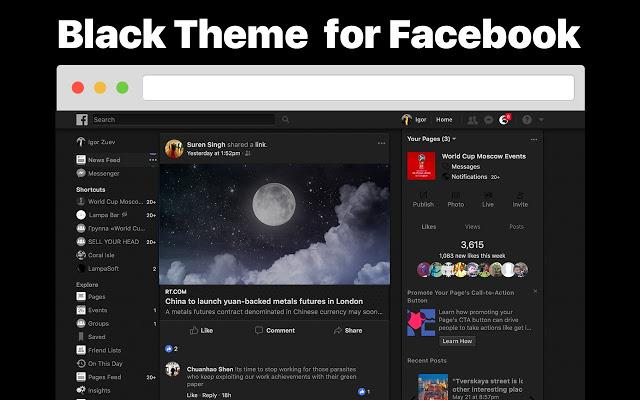 Tema escuro para Facebook